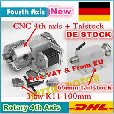 K11-100mm Fourth Rotary 4th Axis 3 Jaw Chuck+Tailstock For CNC Router DE Stock
