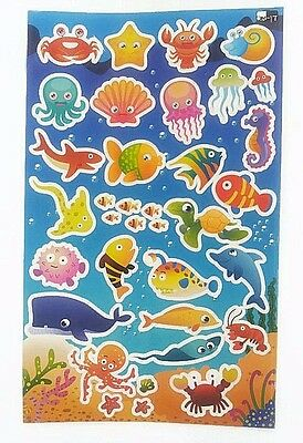 35Pcs Stickers DIY Scrapbooking Lovely Cute Paper Sea Creatures kids Diary Album