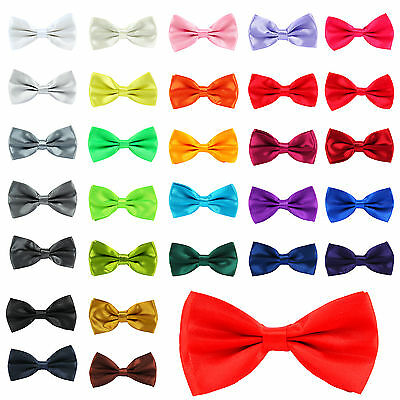 Adjustable Satin Mens Pre Tied Fancy Plain Necktie tie Bow ties Wedding Party