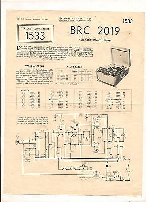BRC 2019 Automatic Record player service sheet from 1962