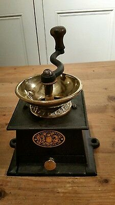 victorian cast iron and brass coffee grinder J & W FINDLAY LIVERPOOL IMPROVED