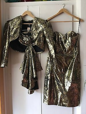 VINTAGE 80's Gold STRAPLESS WIGGLE DRESS & JACKET Retro PARTY 14