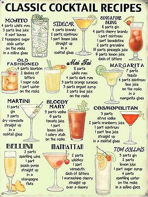 Cocktail Recipes, Retro metal Aluminium Vintage Sign Bar Pub Club Man Cave