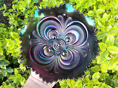 Wow..imperial Scroll Embossed Carnival Glass Bowl ~ Purple ~ Stunning ~