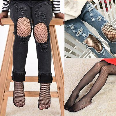 Kids Girls Black Mesh Fishnet Net Pattern Pantyhose Tights Stockings Socks 6-10Y