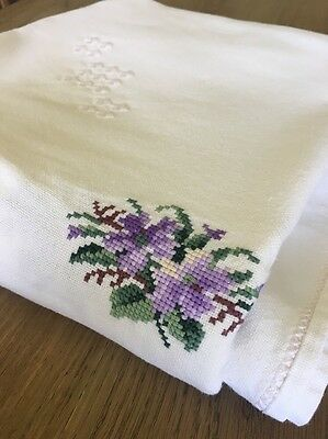 Vintage Cross Stitch Cotton Table Cloth Large  Wedding