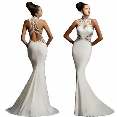 Trendy Women Elegant Backless Gown Dress Bodycon Party Evening Fishtail Dresses