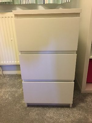 Ikea Malm white 3 drawer chest of drawers