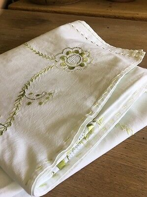 Vintage Embroidered Cotton Table Cloth Large  Wedding
