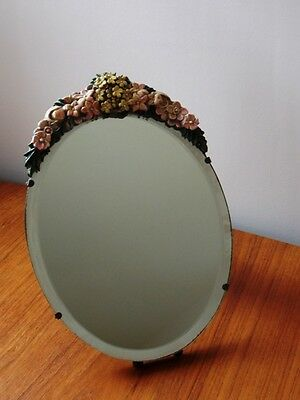 """1930s Barbola Mirror on Easel Stand Bevelled Edge Flower Decoration  11.5"""" x 9.5"""