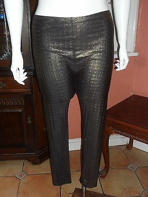 Plus Size L 22/24 Black and Gold stretch Leggings