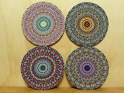 Set Of Four Coasters - Round 95Mm - Mandala Pattern/ Bohemian/ Boho