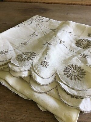Vintage Embroidered Cotton Table Cloth Wedding