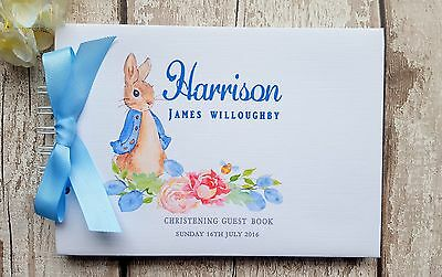 Personalised Peter Rabbit Naming Day Christening Baptism Message Guest Book