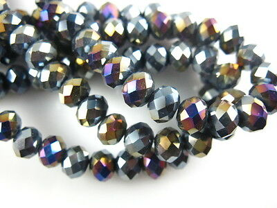 3x4mm Black AB Faceted Loose Rondelle 5040# Crystal Glass Beads 200pcs