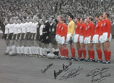 "ENGLAND-1966-16x12"" PHOTO-SIGNED by 5-HURST-BANKS-PETERS-COHEN-CHARLTON-AFTAL"