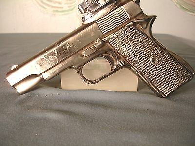 Vintage Cast Metal Novelty Table Lighter Gun  Copy 1911 Automatic.45 used