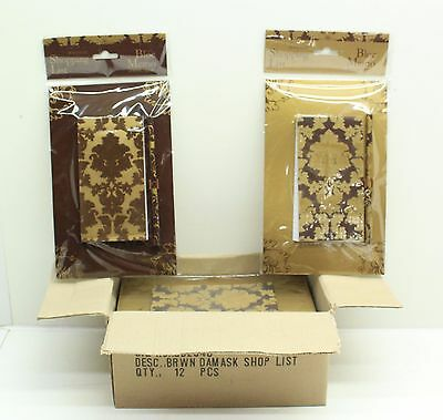 New Wholesale Job Lot 12 x Damask Magnetic Brown Shopping List & Pencil FREE P&P
