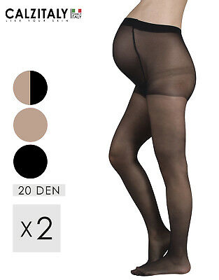 2 Pairs Maternity Tights Ladder Resist, Pregnancy Pantyhose,20 DEN Made in Italy