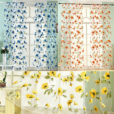 1PC Colorful Peony Tulle Voile Door Window Curtain Drape Panel Sheer Valance 2m