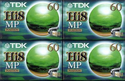 CASSETTE TAPES CAMCORDER VIDEO Hi8mm TDK MP 60 BRAND NEW SEALED LOT OF 4 pieces