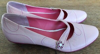Clarks Ladies Size 4 Pink Leather Flat Shoes
