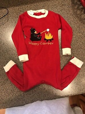 Infant pajamas Sleep and Play from Lazy One Red Unionsuit Happy Camper