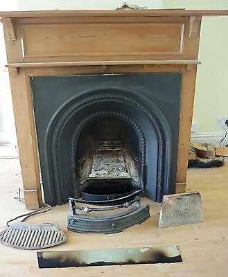 Victorian Cast Iron Fire Place with Pine Mantel