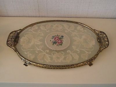 Beautiful Vintage Petit Point Dressing Table Tray