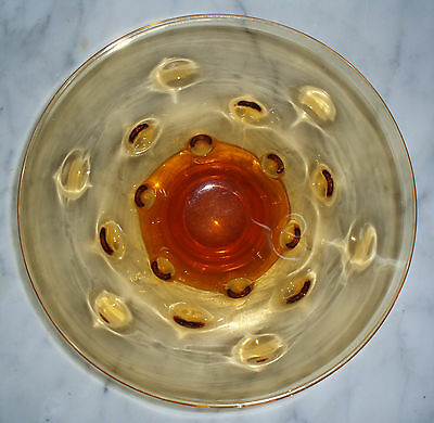 Vintage 'Webb' AMBER ART GLASS BOWL Hand Blown Bullseye, Art Deco ENGLAND