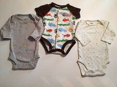 Carters Newborn Baby Boy Jumpsuit One piece Lot Long sleeve t-shirt Animals
