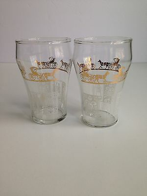 Vintage Pair of Juice Glasses Gold Carriage White Pilgrim Dominion Glass