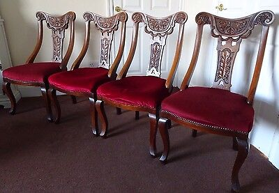 Antique Walnut Dining Chairs Set Of Four Genuine Hand Finished Quality