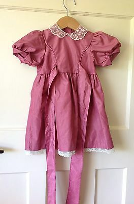 BABY GIRL VINTAGE DRESS 12-18 MONTHS Romany 80's Lace Collar Rose Crepe Vgc