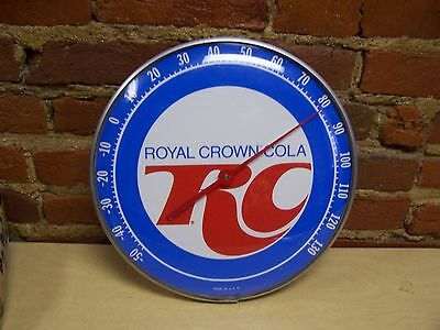 """Vintage 1960's RC Royal Crown Cola 12.5"""" Metal & Glass Thermometer Sign Working!"""