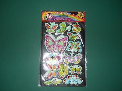 1 Brand New Pack Of Glow In The Dark Butterfly Stickers For Cards.