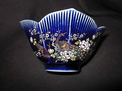 Vintage Japanese Kyoto Lotus Cobalt Blue Bowl w/ Peacocks and Flowers