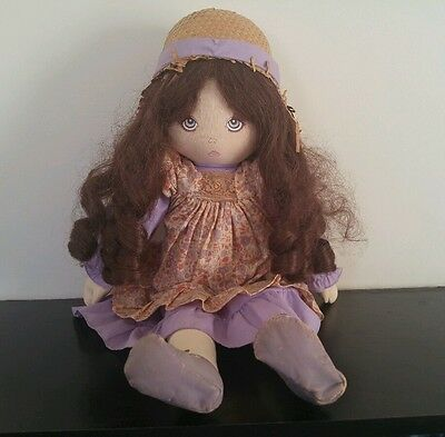 """Vintage Dolls By Pauline Brunette Brown Hair 18"""" Doll 1983 Cloth Painted Face"""