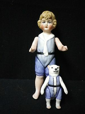 """51/2"""" Artist Made All Bisque Doll Sailor Suit with dog"""