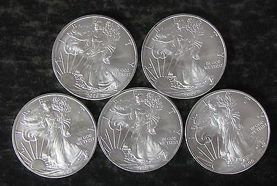Five (5) 2009 American Silver Eagle Coins, 5 Troy oz Bullion - lot - No Reserve