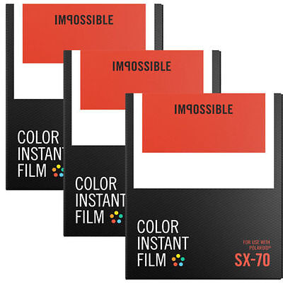 Impossible SX-70 Color Film TRIPLE Pack (24 Shots) for Polaroid