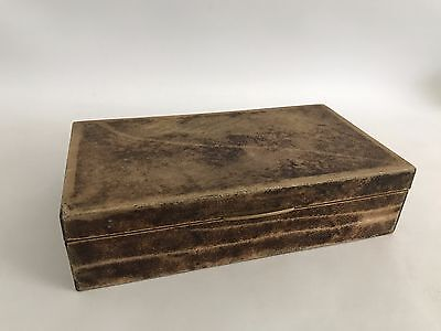 Aldo Tura Italy Design Dose/Schachtel 60s 70s Goatskin Box Yellow Brown 60er