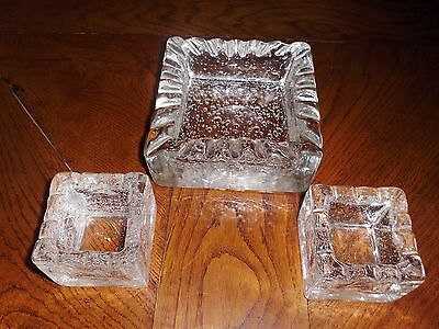 3 pieces DAUM FRENCH CRYSTAL signed v large + 2 small vintage unique w 4 kilos