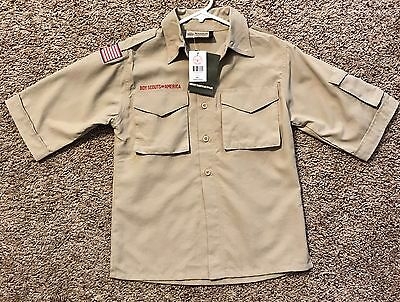 New Boy Scouts of America Tan Short Sleeve Uniform, Youth Small,Supplex material