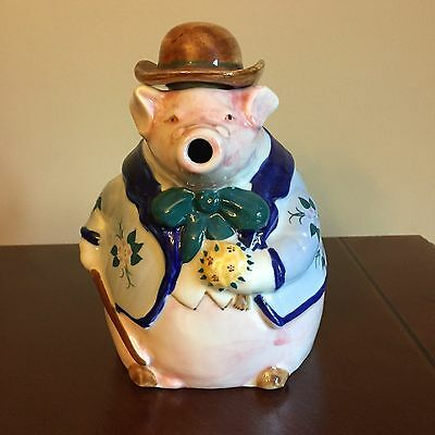 Hand Painted Ceramic Pig Teapot - Distinguished Gentleman Pig - Collector's Item