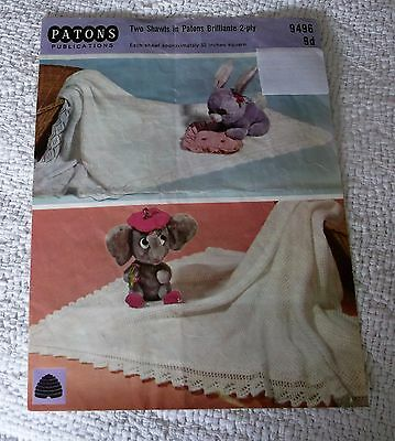 ORIGINAL, VINTAGE,1960's PATONS KNITTING PATTERN No.9496 TWO SHAWLS