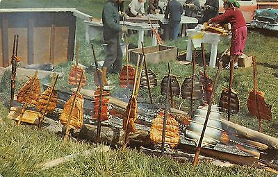 Postcard Native American Indian Salmon Bake Pacific Northwest Cooking Campfire