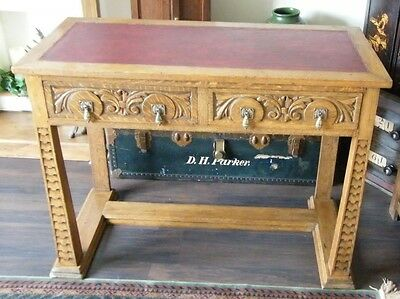 Rare Antique Gothic Arts & Crafts Oak Carved Church Desk Hall Table Side Table