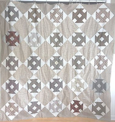Indiana-Quilts 19th Century 1850s MONKEY WRENCH QUILT TOP CRISP AND UNBELIEVABLE
