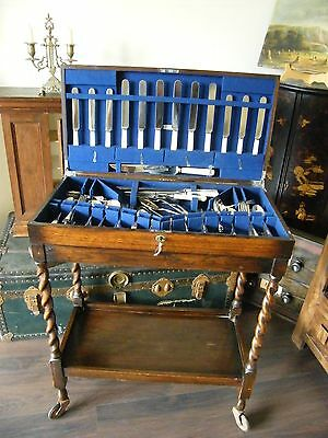 Antique Cutlery Trolley Ideal Collectors Cabinet Box Chest With Lock & Key